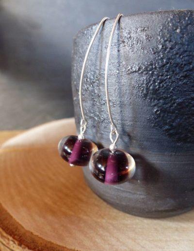 boucles d_oreille perle violette_